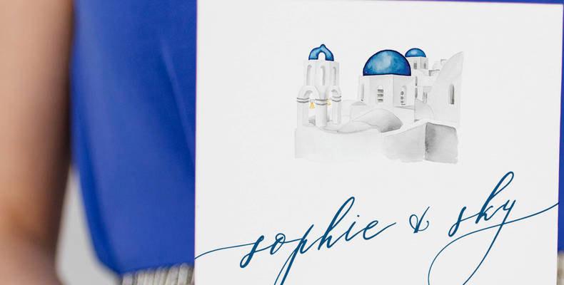 Greek inspired wedding invites