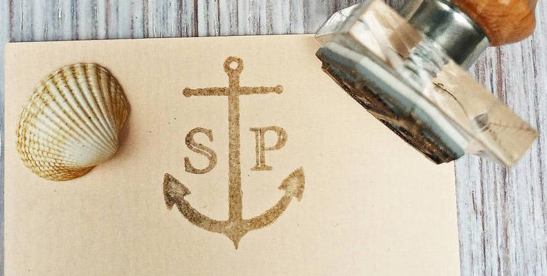 Monogram stamped invitation