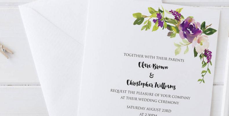 Water Colour Wedding invititation